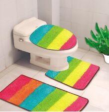 3PC STRIPE RAINBOW COLORS BANDED BATHROOM SET BATH MAT COUNTOUR LID COVER #6