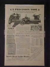 Old ~South Bend Machinist Tool Machine Lathe ART PRINT AD~ ORIGINAL ANTIQUE 1930