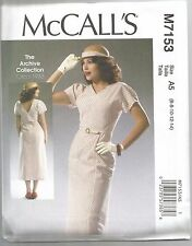 McCall's Sewing Pattern 7153, Retro 1933 Dress and Belt, Sizes 14 - 22, New