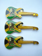 SALE RARE VINTAGE BOB MARLEY FREEDOM GUITAR SET 3 REGGAE MUSIC PIN BADGE LOT 99p