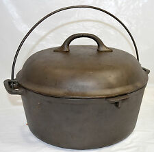 "Old Cast Iron Dutch Oven Pot Favorite Piqua Ware with Lid  10 1/8"" x 4 1/8"" Tall"
