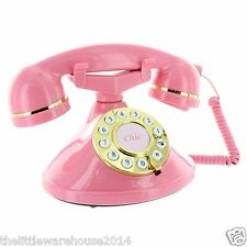 Chic Deluxe Classic Telephone Corded House Phone Vintage Mybelle Retro Pink UK