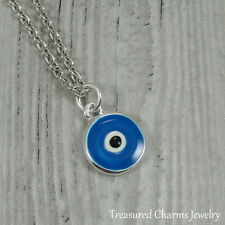 Silver and Blue Evil Eye Charm Necklace - Protection Talisman Amulet Pendant NEW