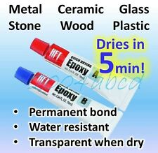 Super Strong Quick Setting -Metal Ceramic Glass Wood Plastic...Epoxy  20g total!