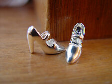 DOLL HOUSE SCALE LOVELY PAIR OF REAL 'SILVER PLATED' HIGH HEEL SHOES !!! WOW !!!