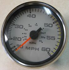 """Faria 5"""" Red Boot w/ SS Bezel 60 MPH Boat Speedometer SE9210A"""