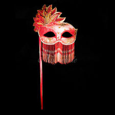 Handheld Stick Mask, Women Mardi Gras Beaded Venetian Masquerade Mask [Red/Gold]
