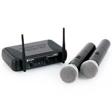 SKYTEC WIRELESS MICROPHONE SET 2 HANDHELD MICS KARAOKE SPEECH WEDDING SINGING PA
