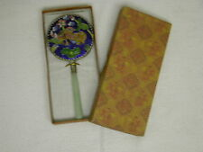 Oriental Chinese Enameled Hand Mirror with Faux Jade Handle