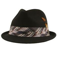 Men's Winter Wool Custom Fit Fedora Trilby Derby Plaid Feather Hat Black M 57cm