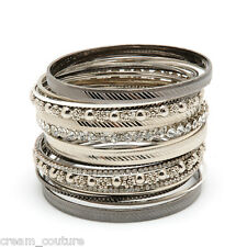 Amrita Singh Beverly Silver & Gunmetal 19 Piece Bangle Set NEW $120 BBAS991