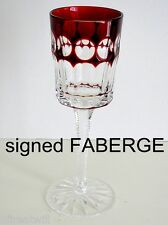 1 Faberge Na Zdorvye RUBY RED cut to clear crystal CORDIAL LIQUER glass SIGNED