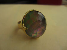 IPPOLITA GIGANTIC BLACK MOTHER OF PEARL RING 18K GOLD MSRP $2975 ADDED GOLD