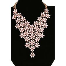 Sparkly Pastel Pink Coloured Flower Daisy Drop Gold Statement Necklace