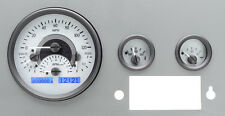 Dakota Digital 55 - 86 Jeep CJ Analog Dash Gauges System Silver Blue VHX-55J-S-B