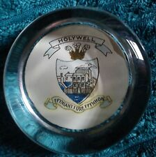 HOLYWELL COAT OF ARMS PAPER WEIGHT IN CLEAR GLASS EXCELLENT CONDITION