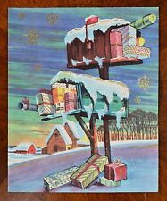 Vintage UNUSED Christmas Card GLITTER EMBOSSED MAILBOXES FILLED WALLACE BROWN