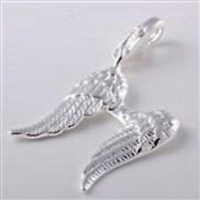 SILVER GUARDIAN ANGEL WINGS CLIP-ON CHARM FOR BRACELETS -  NEW - SILVER PLATE