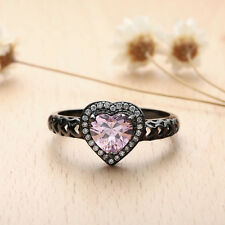 Rhinestone Heart Ring 18K Black Gold Plated Lover Jewelry Size 7-9 NF