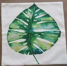 Watercolour Painting Large Green Leaf Linen Look Cushion Cover 45cm