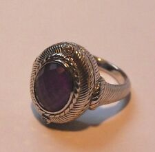 Judith Ripka Sterling Silver Oval Purple Amethyst & Diamonique Ring Unworn