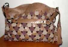 Rafe New York Brown/ Tan Suede/ Leather Large  Studed Handbag, Purse
