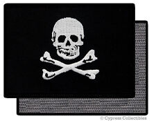 PIRATE FLAG PATCH JOLLY ROGER Skull Crossbones BLACK w/ VELCRO® Brand Fastener