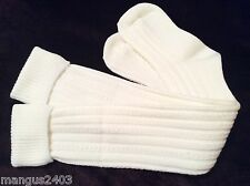 LADIES QUALITY SKI WELLY BOOT SOCKS IVORY CREAM CABLE KNIT OVER KNEE MERINO WOOL
