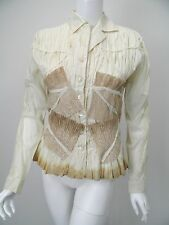 ISSEY MIYAKE Ivory Gathered Cotton Tea-Stained Lace Button Shirt 4 US L NWT$1395