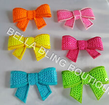 6 MUTLI COLOUR NEON SMALL SEQUIN BOWS 4.5 X 3.2CM EMBELLISHMENTS HAIR CRAFT