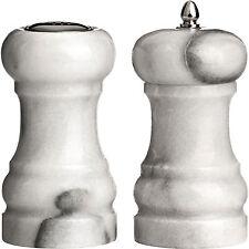 Set Of Marble Salt & Pepper Mills Spice Grinders Shaker Pots Natural Kitchen New
