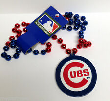 Chicago Cubs Bead Necklace, MLB Pennant Medallion necklace 36in. FREE SHIPPING