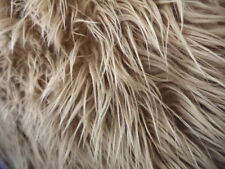 CARAMEL FAUX FUR MONGOLIAN FUR LONG PILE HAIR FABRC BY THE YARD