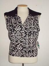 DO & BE JUNIORS SIZE LARGE BLACK & IVORY AZTEC  PRINT HOODED FASHION VEST