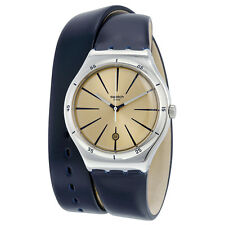 Swatch Irony Beige Dial Blue Leather Ladies Watch YWS408