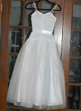 Jessica McClintock White Cinderella Prom Wedding Tulle Ball Gown Size 1/2 Sequin