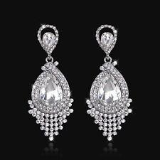 Wedding Bridal Long Drop Dangle Earring Pierced Clear Rhinestone Crystal Silver