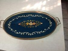 Vintage Polished Wood Inlay Blue Serving Tray Flowers ITALY Brass Rims Handles