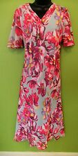 New Eastex Pink Multi Coloured Floral Summer Dress Size 12 £119.00