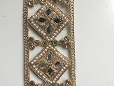 ATTRACTIVE INDIAN ROSE GOLD CUT SQUARES WITH MIRRORS ON FABRIC TRIM/LACE-1 METER