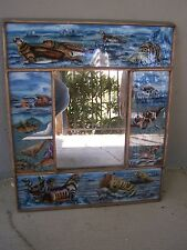 Large Reverse Painted Glass Wall Mirror with Arctic Wildlife - Ayacucho, Peru