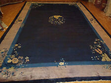 Antique Handwoven Art deco Large Chinese rug size 10'x15'beautiful dark blue