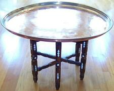 "31"" Antique Handmade Copper Tray/Coffee Table with Mother Pearl Decorated Legs"
