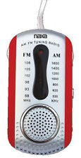 Naxa AM FM Compact Portable Radio Red & Earbuds & Speaker New Free US Shipping
