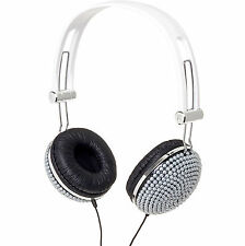 Silver Pearl Bling DJ Over-Ear Headphones Headset Earphones
