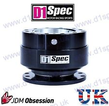 D1 SPEC UNIVERSAL RACING STEERING WHEEL QUICK-RELEASE FULL BLACK JDM DRIFT RALLY
