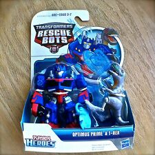 Transformers RESCUE BOTS OPTIMUS PRIME & T-REX Playskool Heroes 2PK figures