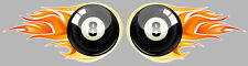 2 X BOULES 8 BILLARD FLAMMES AUTOCOLLANTS STICKER 100mmx50mm MOTO BIKER (ZA005).