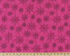 Eerie Alley Black Spiderwebs Cirles Pink Cotton Fabric Print by the Yard D692.28