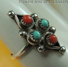 Vintage Turquoise & Coral American West STERLING SILVER 0.925 ESTATE RING size 5